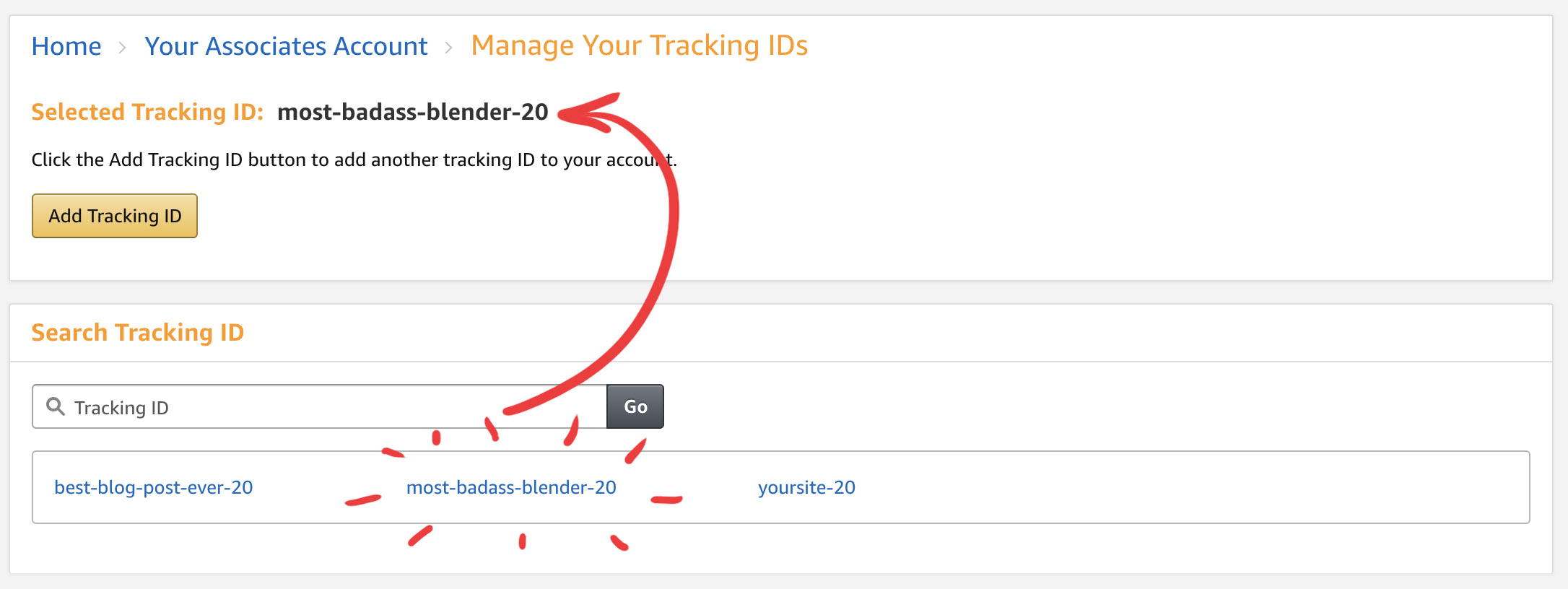 Create tracking ID for Amazon affiliate program